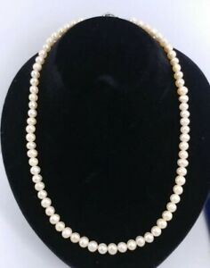 Peach Luster 5mm Cultured PEARL Necklace 14/20 White Gold Filled Flower Clasp
