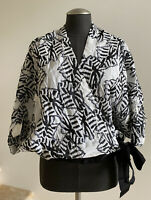 NWOT ZERO + MARIA CORNEJO Black White Wrap Top Shirt, Size 8