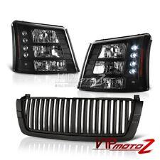2003-2005 Chevy SILVERADO 1500/2500/3500 Black 1PC Headlight+Bumper Lamp+Grille