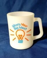 Federal Glass Whats Your Big Idea Cup Milk Glass Anchor Hocking
