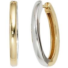 Creolen echt 585 Gold Weissgold kombiniert Gold-ohrringe