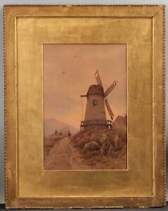 Antique WILLIAM PASKELL Cape Cod Windmill Watercolor Painting w/ Gilt Oak Frame