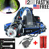 990000LM Rechargeable Head light T6 LED Tactical Headlamp Zoomable+Charger+18650