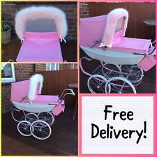 More details for luxury fur hood trim for silver cross traditional dolls prams -pink -white- grey