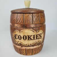 Vintage Ceramic Barrel Cookie Jar 1960s Treasure Craft USA Approx 10x7 Inch