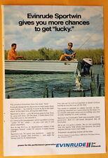 Vintage Magazine Print Ad 1971 9.5 HP Evinrude Sportwin  Outboard Motor