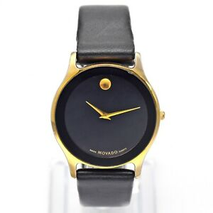 Movado Museum Gold Plated Men's Quartz Watch 34 mm Box Card Tags Ref. 89-40-880