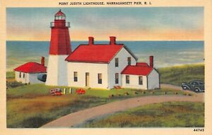 # B1273    NARRAGANSETT PIER,  R.I.   LINEN     POSTCARD,  LIGHT HOUSE