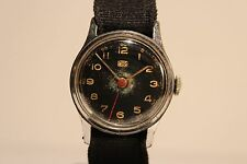 """VINTAGE EARLY MILITARY STYLE MEN'S GERMANY MECHANICAL WATCH""""RUHLA""""/BLACK DIAL"""