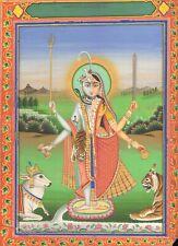 Antique Indian Miniature Painting - Ardhanarishvara, Jaipur 19th Hindu God Shiva