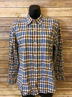 Roper Pearl Pearl Snap Shirt Size Large Womens Long Sleeve Western Orange plaid