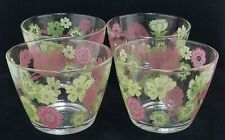"Set of Four Retired IKEA ""Godta"" Glass Floral Dessert Bowls. 4"", MINT, Multiples"