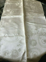 """VINTAGE Glossy Champagne Color RAYON DAMASK FLORAL WEAVE TABLE CLOTH 52 x 52"""""""