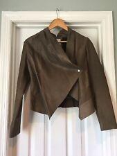 Womens Grey Leather BB Dakota Drape Front Jacket M