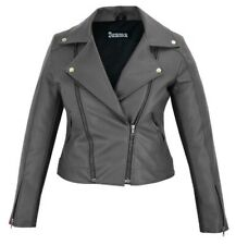 New Women's Black Slim Fit Biker Style Moto Faux Leather Jacket