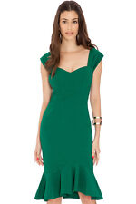 Ladies Midi Fishtail Green Dress - Size 10-12