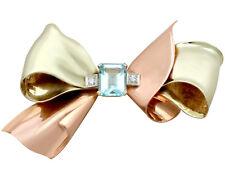 1940s 3.26ct Aquamarine and 0.08ct Diamond 14Carat Gold 'Bow' Brooch