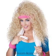 W340 Lets Get Physical Blonde Curl Costume Wig 80s Olivia Newton John Aerobics
