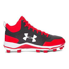 New Mens Under Armour Heater Mid TPU Baseball Cleats Shoes Red / Black Sz 8.5 M