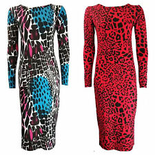 WOMENS LADIES LONG SLEEVE ANIMAL LEOPARD PRINT BODYCON MIDI DRESS PLUS SIZE 8-22