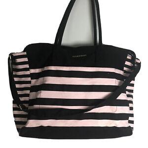 Victoria's Secret Pink and Black Stripe Weekender Large Tote Bag Beach Overnight