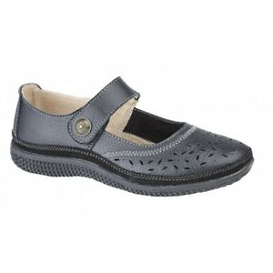 Boulevard ELEANOR Ladies Womens Smooth Leather Wide Fit Mary Jane Shoes Black
