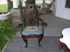 wow antique victorian pierced carved and highly carved mahogany arm chair