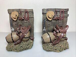 Western Cowboy Hat Horse Saddle Rope Gun Holster Barrel Barn Door Ranch Bookends