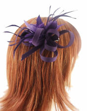 Purple Double Feather Flower Hair Fascinator Crepe Loop Bow on sprung clip