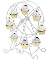 Godinger Ferris Wheel Cupcake Holder Rotates Holds 8 Cupcakes White Metal