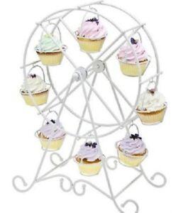 Godinger Ferris Wheel Cupcake Holder Rotates Holds 8 Cupcakes White Metal