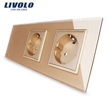 1 Gang Touch Lichtschalter + Steckdose + Steckdose  Livolo Gold Kristall Glas