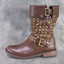 NEW! Ugg Conor Stud Chocolate Brown Boots Women's size 6.5 M New $325   ANB