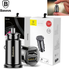 Baseus Mini Dual USB Car Charger For Phone Tablet GPS 3.1A Fast Adapter Black