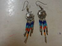 Sterling Silver .925 Turquoise Coral Dangle Native American Drop Earrings
