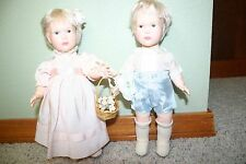"Vintage Bridal Suite Effanbee Dolls Flower Girl and Ring Bearer Boy 11"" 1980"
