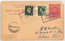 BS9 1937 ANTIGUA REPLY CARD GB KEVIII FRANKING Venezuela KMS Barbados Maritime