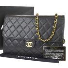 CHANEL CC Matelasse Chain Shoulder Bag Leather Black France Vintage 679LB440