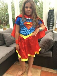 Girls DC Supergirl Costume Superhero Fancy Dress Outfit Kids Ages 8-10 Years