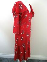 Red Herring bnwt prairie dress size 18 cape feature long hem red floral unusual
