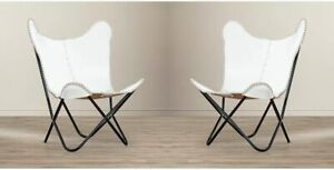 Butterfly Chair Side Stitching Design with Iron Powder Coated Folded White Cover