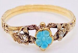 Rare!! Georgian 18k Mourning Forget Me Not Persian Turquoise/Diamond Ring Sz6