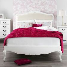 Juliette Shabby Chic White Upholstered Bed, Stunning French 5ft King size bed