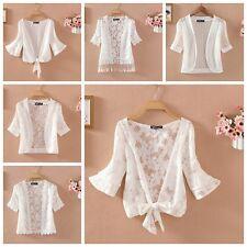 Lady Short Sleeve Lace Shrug Bolero Cape Capelet Jacket White Open Cardigan Tops