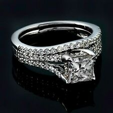 1.78 CT E/VS2 REAL PRINCESS CUT DIAMOND ENGAGEMENT RING SET 14K