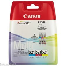 3 x Colour Original OEM Inkjet Cartridges CLI-521 For Canon MP630, MP 630