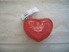 COACH WOMANS HEART CORAL LIQUID GLOSS JEWELRY POUCH / BOX CASE 65385  NWT