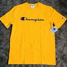 Champion Embroidered Script Logo T-Shirt, Gold Yellow - Men's Size Large NWT
