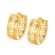 Womens Mens Punk Hoop Earrings Retro Gold Filled Mystic Design Vintage Earings