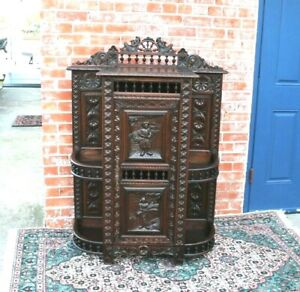 French Antique Brittany Carved Dark Oak 1 Door Cabinet / Etagere
